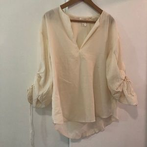 Cream Romantic Tunic with Gathered Sleeves